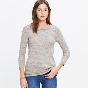 Madewell Side Button Thermal Top Grey Raw Hem